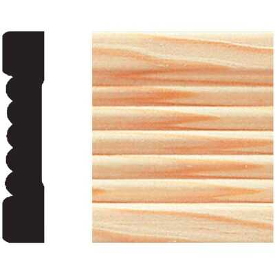 House of Fara 7/16 In. W. x 2-1/4 In. H. x 7 Ft. L. Natural Pine Fluted Wood Casing