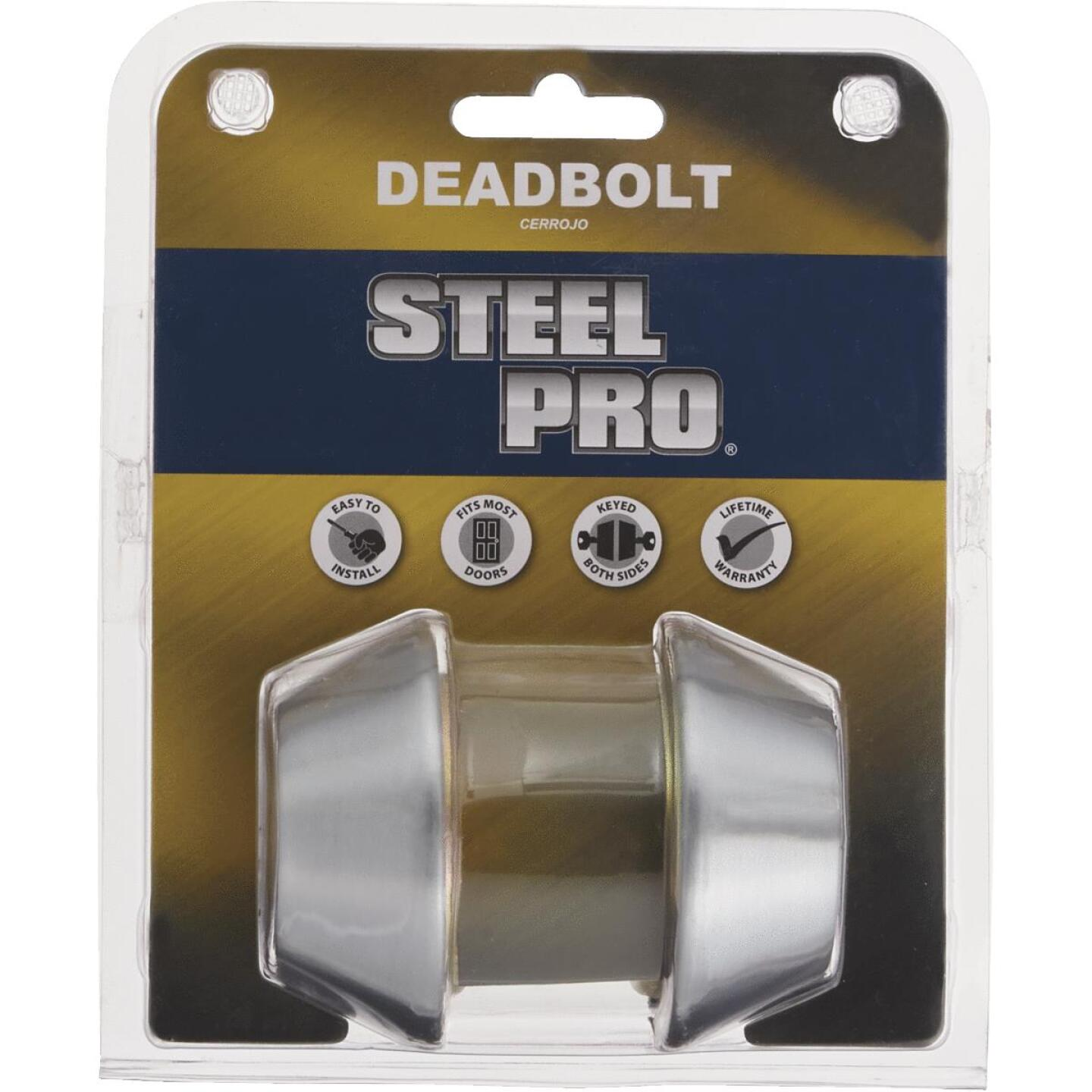 Steel Pro Satin Chrome Kwikset Double Cylinder Deadbolt Image 2