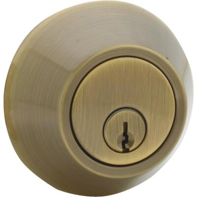 Steel Pro Antique Brass Kwikset Double Cylinder Deadbolt