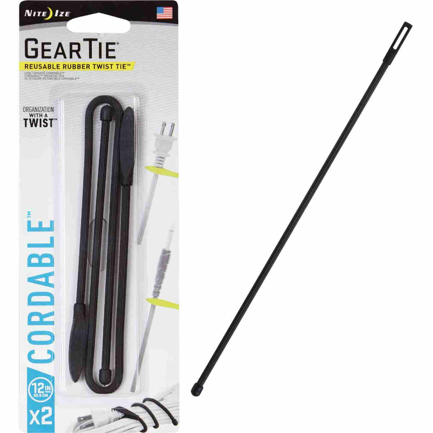GearTie Cordable 12 In. Black Rubber Twist Tie (2-Pack) Image 1