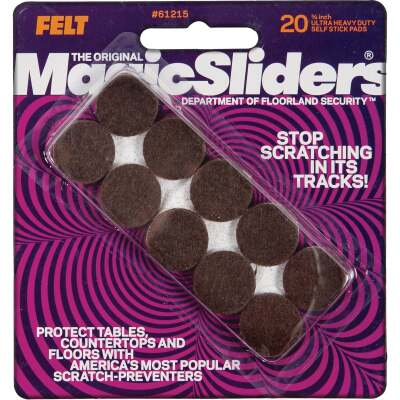 Magic Sliders 3/4 In. Round Brown Self-Adhesive Ultra Heavy-Duty Felt Furniture Pad (20-Pack)