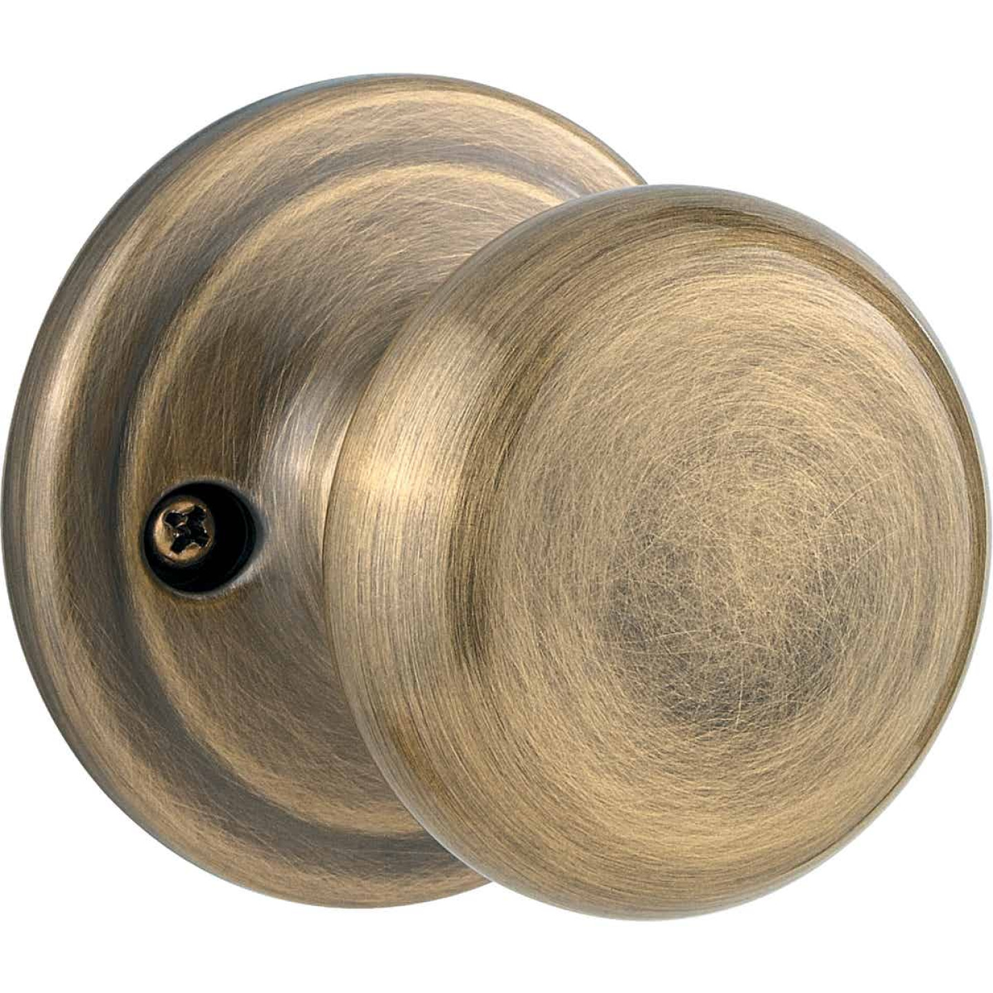 Kwikset Signature Series Antique Brass Juno Dummy Door Knob Image 1