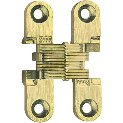 SOSS Satin Brass 3/8 In. x 1 In. Invisible Hinge, (2-Pack)