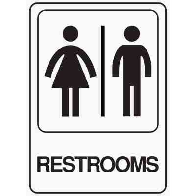 Hy-Ko Deco Series Heavy-Duty Plastic Sign, Restrooms