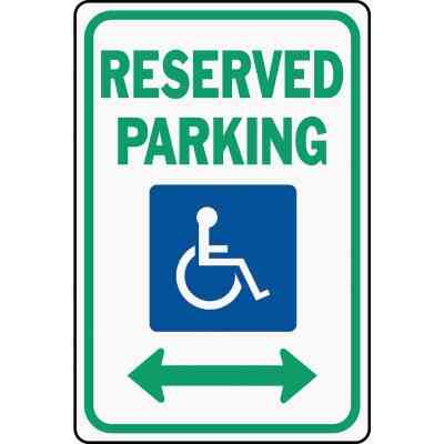Hy-Ko Heavy-Duty Aluminum Sign, Reserved Parking Handicap