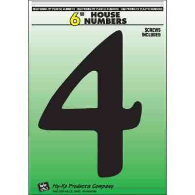 Hy-Ko 6 In. Black Gloss House Number Four
