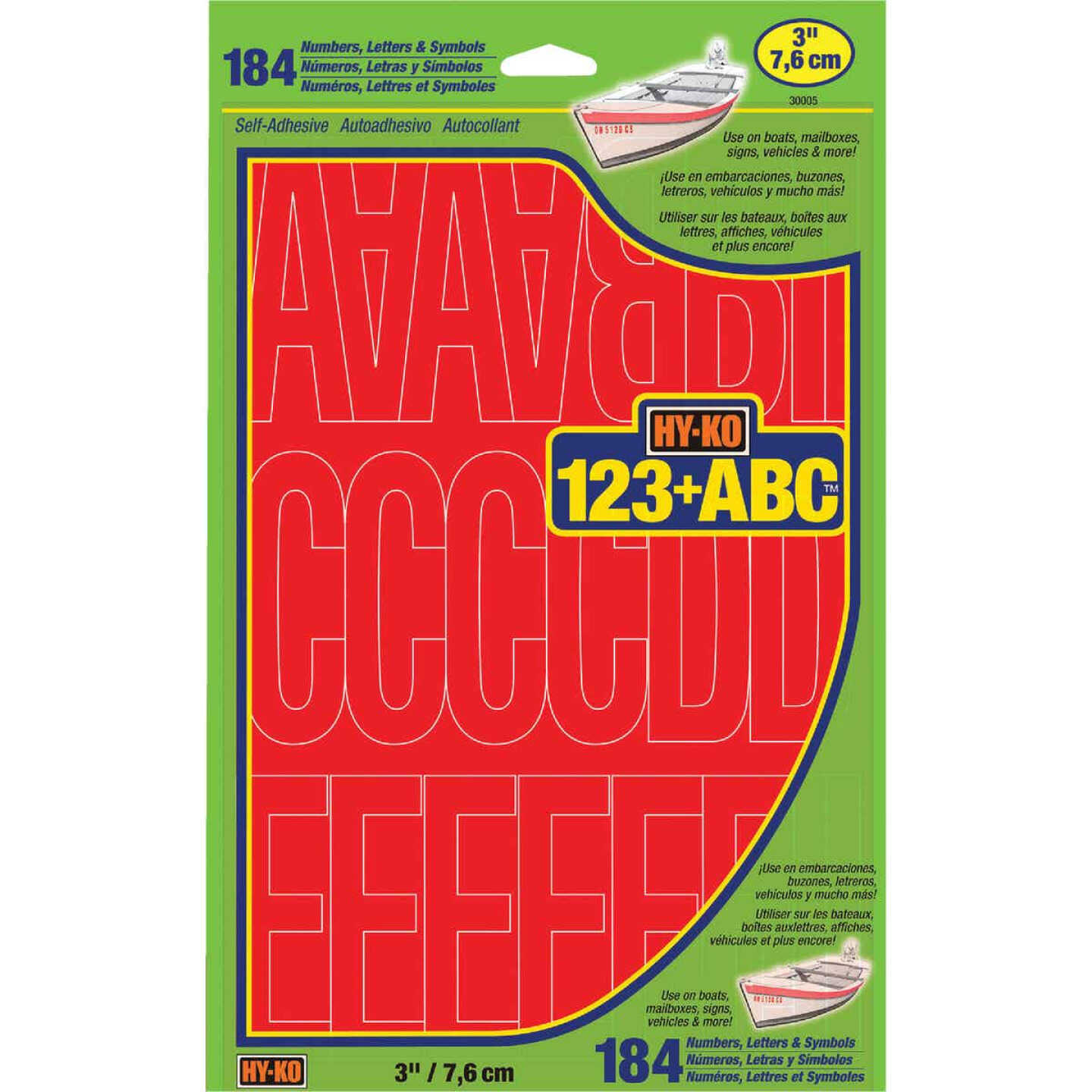 Hy-Ko 3 In. Red Vinyl Letters, Numbers & Symbols (184 Count) Image 1