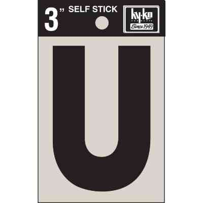 Hy-Ko Vinyl 3 In. Non-Reflective Adhesive Letter, U