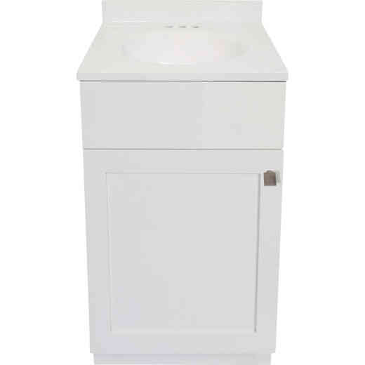Modular Charleston White 18 In. W x 34-1/2 In. H x 16 In. D Vanity with White Cultured Marble Top