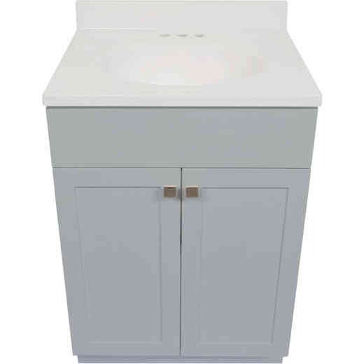 Modular Charleston Gray 24 In. W x 34-1/2 In. H x 18 In. D Vanity with White Cultured Marble Top
