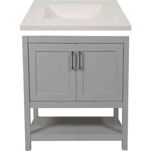 Modular Monaco Gray 30 In. W x 34-1/2 In. H x 21 In. D Vanity with White Cultured Marble Top