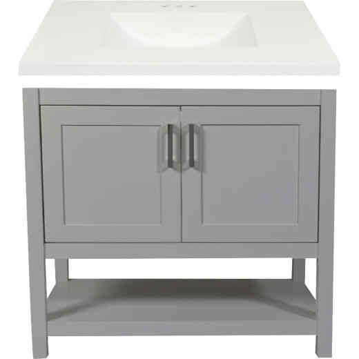 Modular Monaco Gray 36 In. W x 34-1/2 In. H x 21 In. D Vanity with White Cultured Marble Top