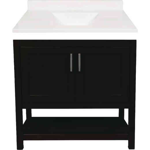 Modular Monaco Espresso 36 In. W x 34-1/2 In. H x 21 In. D Vanity with White Cultured Marble Top