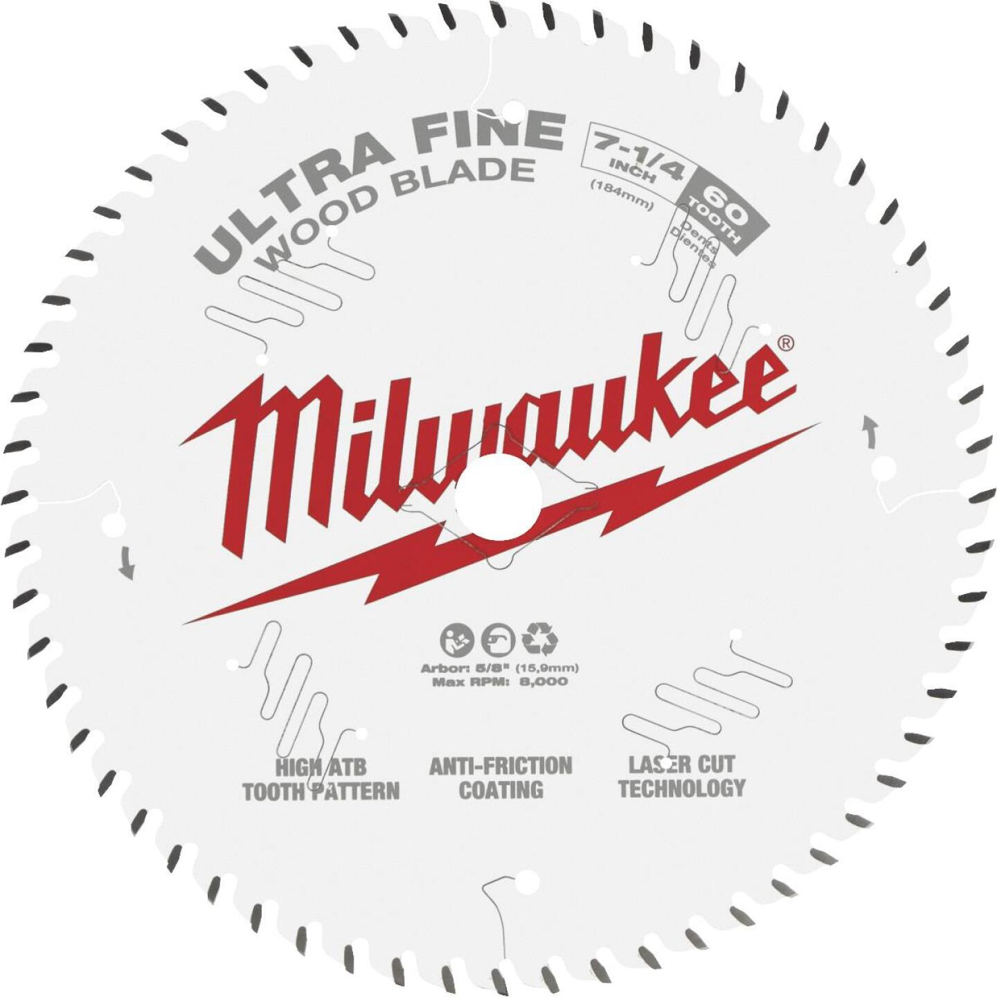 Milwaukee 7-1/4 In. 60-Tooth Ultra Fine Finish Circular Saw Blade Image 1