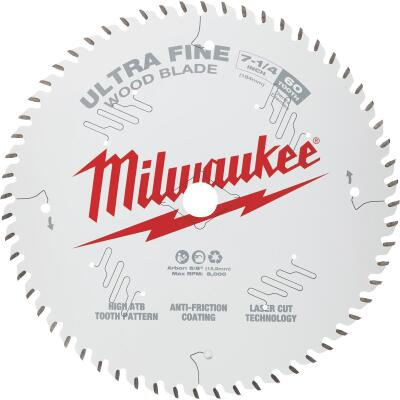Milwaukee 7-1/4 In. 60-Tooth Ultra Fine Finish Circular Saw Blade, Bulk