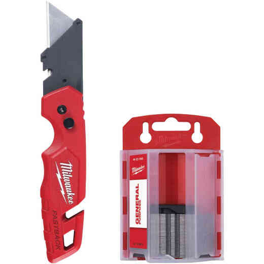 Milwaukee FASTBACK Utility Knife w/Storage and 50-Piece General Purpose Blades