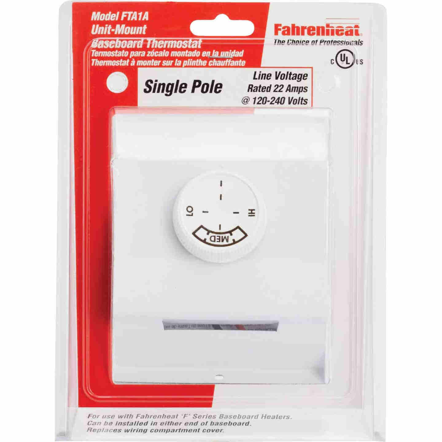 FAHRENHEAT White Single 22A at 120-277V AC Electric Baseboard Heater Thermostat Image 2