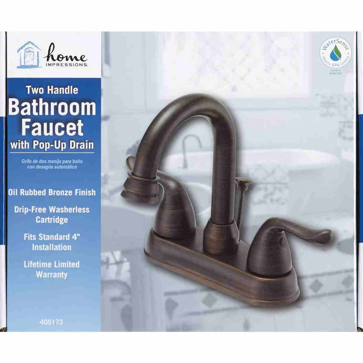 Home Impressions Oil-Rubbed Bronze 2-Handle Lever 4 In. Centerset Hi-Arc Bathroom Faucet with Pop-Up Image 2