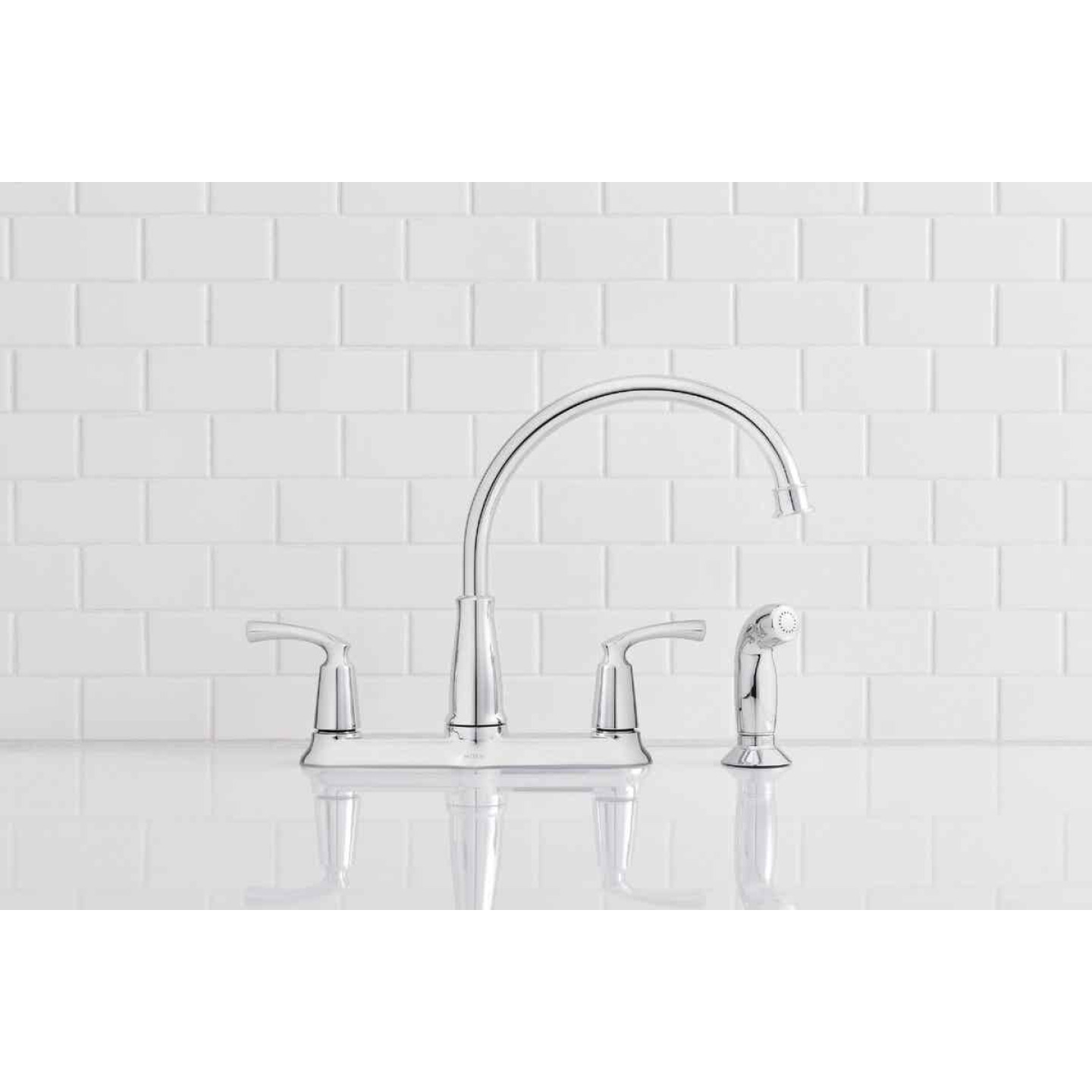 Moen Bexley Dual Handle Lever Kitchen Faucet with Side Spray, Chrome Image 2
