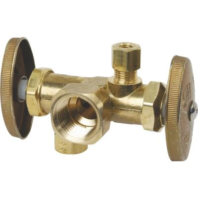 BrassCraft 1/2 In. F X 3/8 In. OD X 3/8 In. OD Rough Brass Dual Outlet Valve