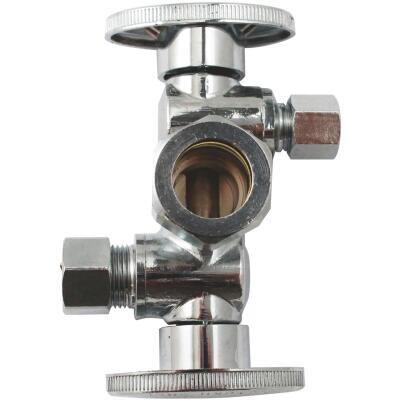 "Keeney 5/8"" OD x 3/8"" OD x 1/4"" OD Quarter Turn Dual Shut-Off/Dual Outlet Valve"