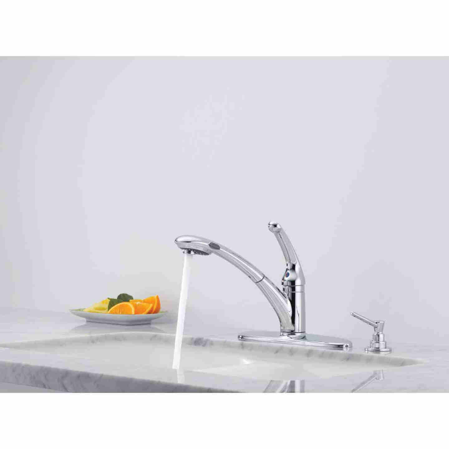 Delta Signature Single Handle Lever Pull-Out Kitchen Faucet with Soap Dispenser, Chrome Image 3