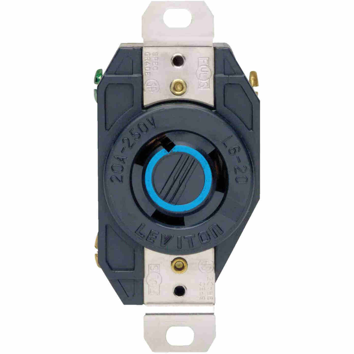 Leviton 20A 250V Black Industrial Grade L6-20R Locking Outlet Receptacle Image 2
