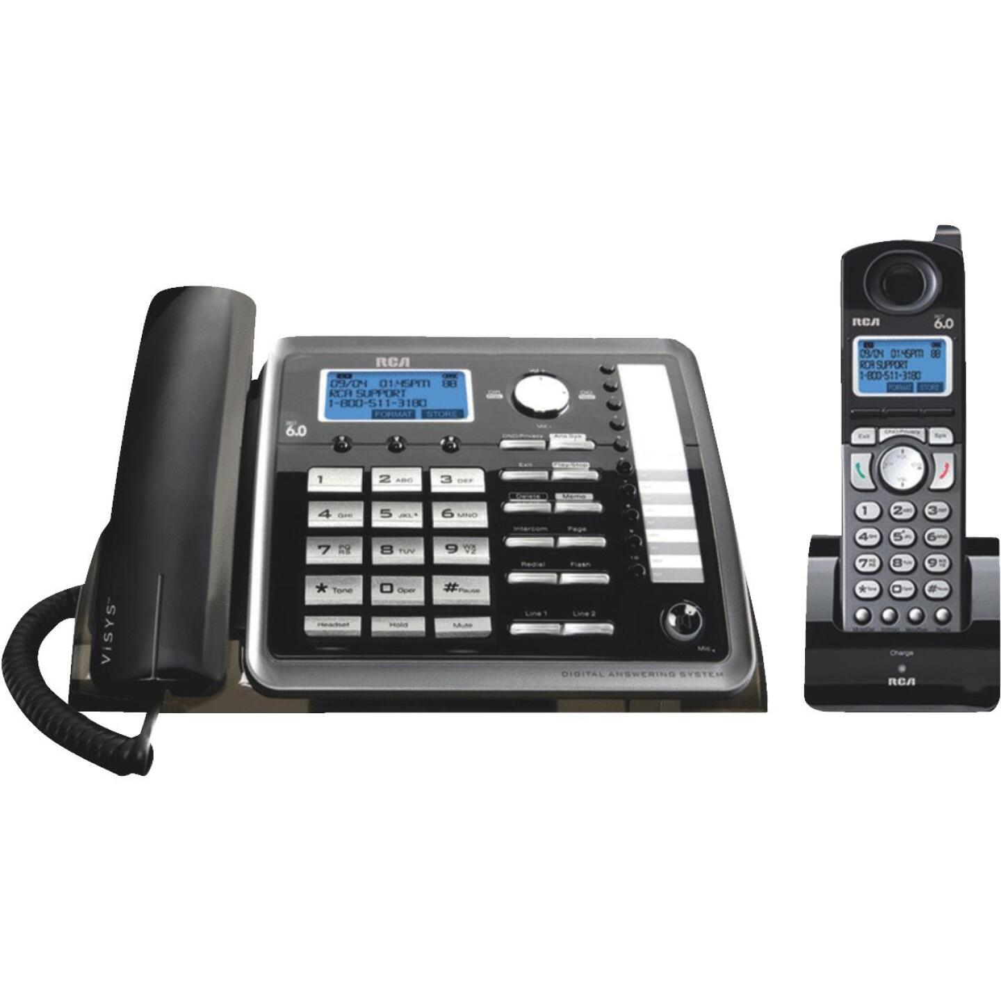 RCA DECT 6.0 2-Line Black Expandable Corded/Cordless Telephone System Image 1