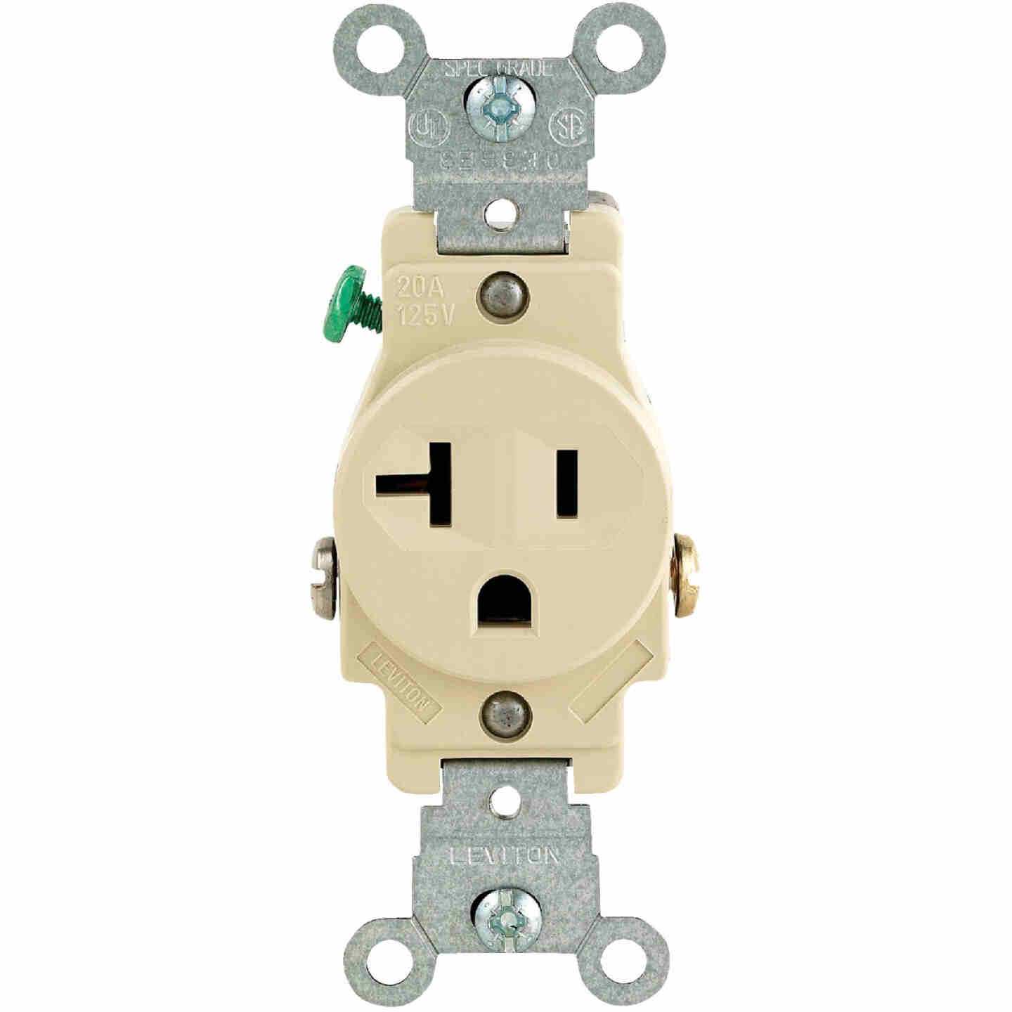 Leviton 20A Ivory Commercial Grade 5-20R Shallow Single Outlet Image 2