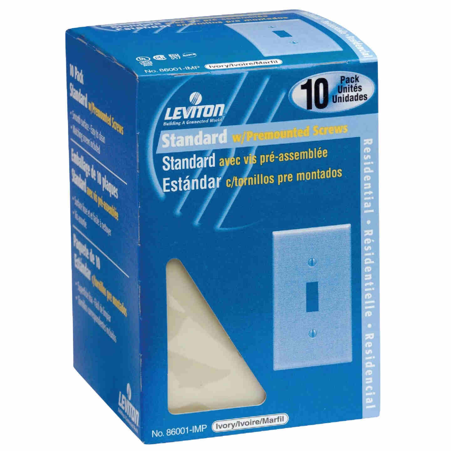 Leviton 1-Gang Plastic Toggle Switch Wall Plate, Ivory (10-Pack) Image 1