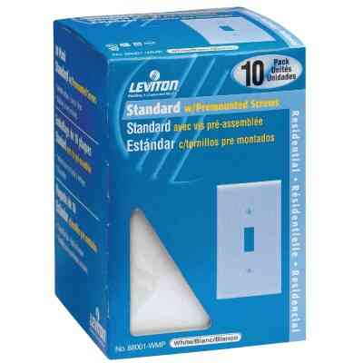 Leviton 1-Gang Plastic Toggle Switch Wall Plate, White (10-Pack)