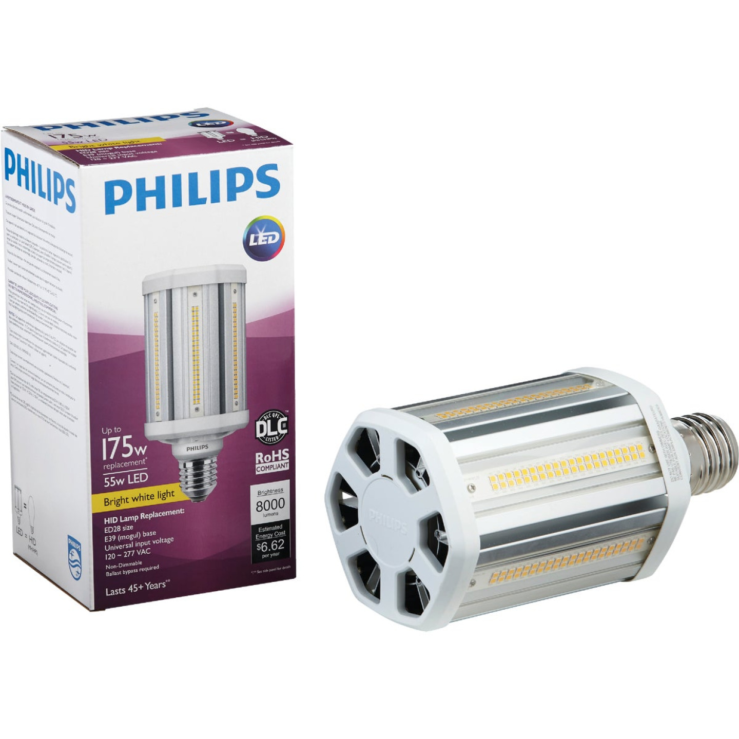 Philips TrueForce 55W Clear Corn Cob Mogul Base LED High-Intensity Light Bulb Image 1
