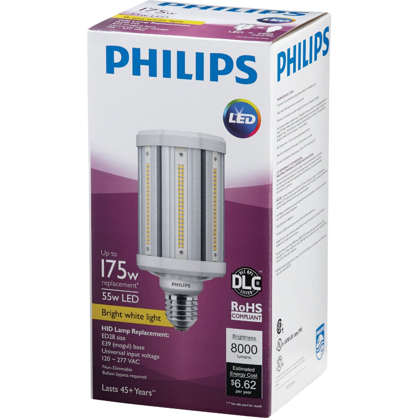 Philips TrueForce 55W Clear Corn Cob Mogul Base LED High-Intensity Light Bulb Image 3