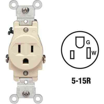 Leviton 15A Ivory Commercial Grade 5-15R Shallow Single Outlet