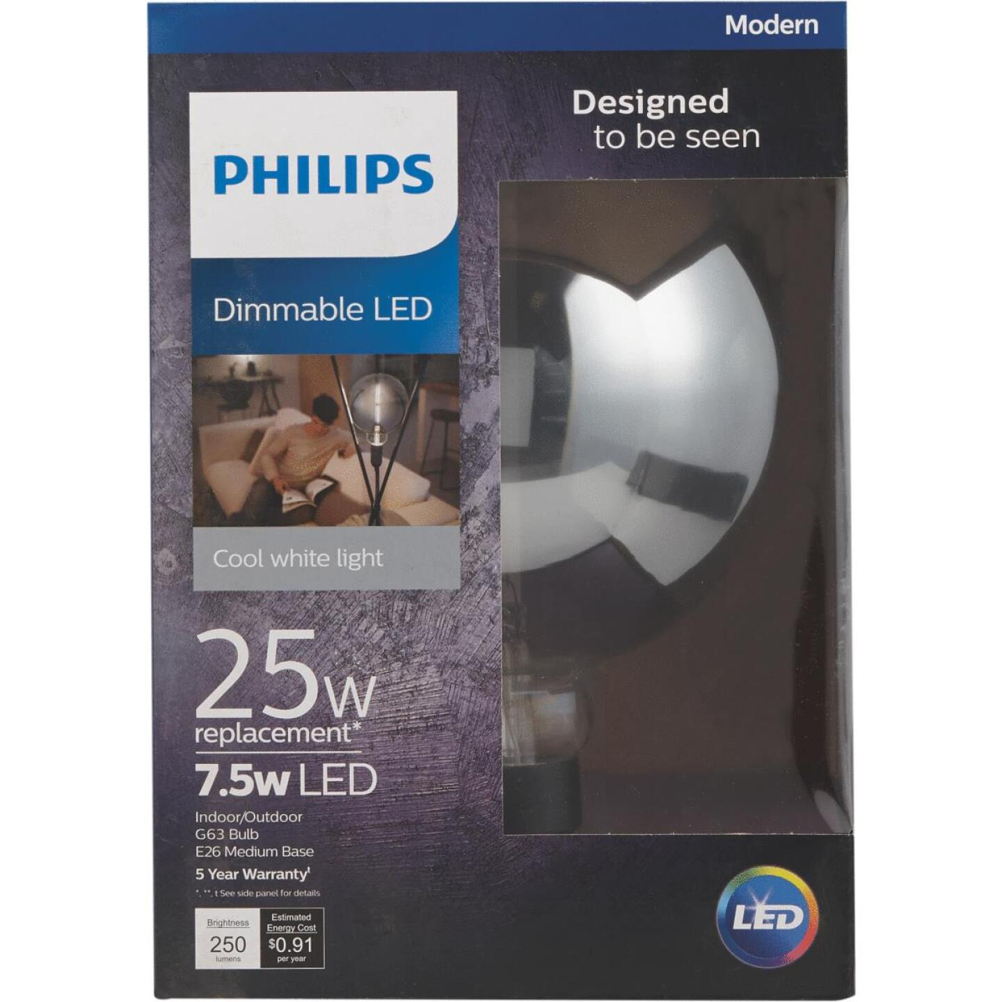 Philips Modern 25W Equivalent Cool White G63 Medium LED Decorative Light Bulb Image 3