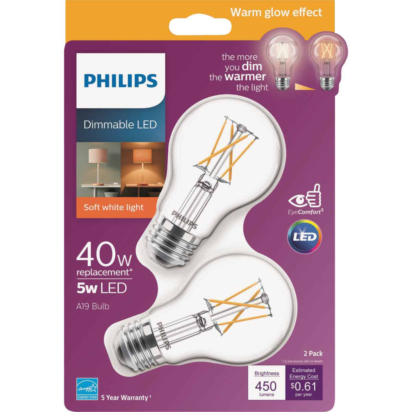 Philips Warm Glow 40W Equivalent Soft White A19 Medium Dimmable LED Light Bulb (2-Pack) Image 1