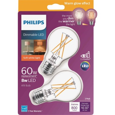 Philips Warm Glow 60W Equivalent Soft White A19 Medium Dimmable LED Light Bulb (2-Pack)