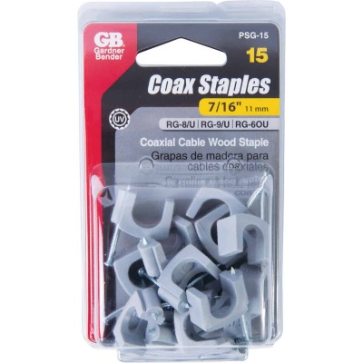 Gardner Bender 7/16 In. Polyethylene Gray UV Resistant Coaxial Staple (15-Count)