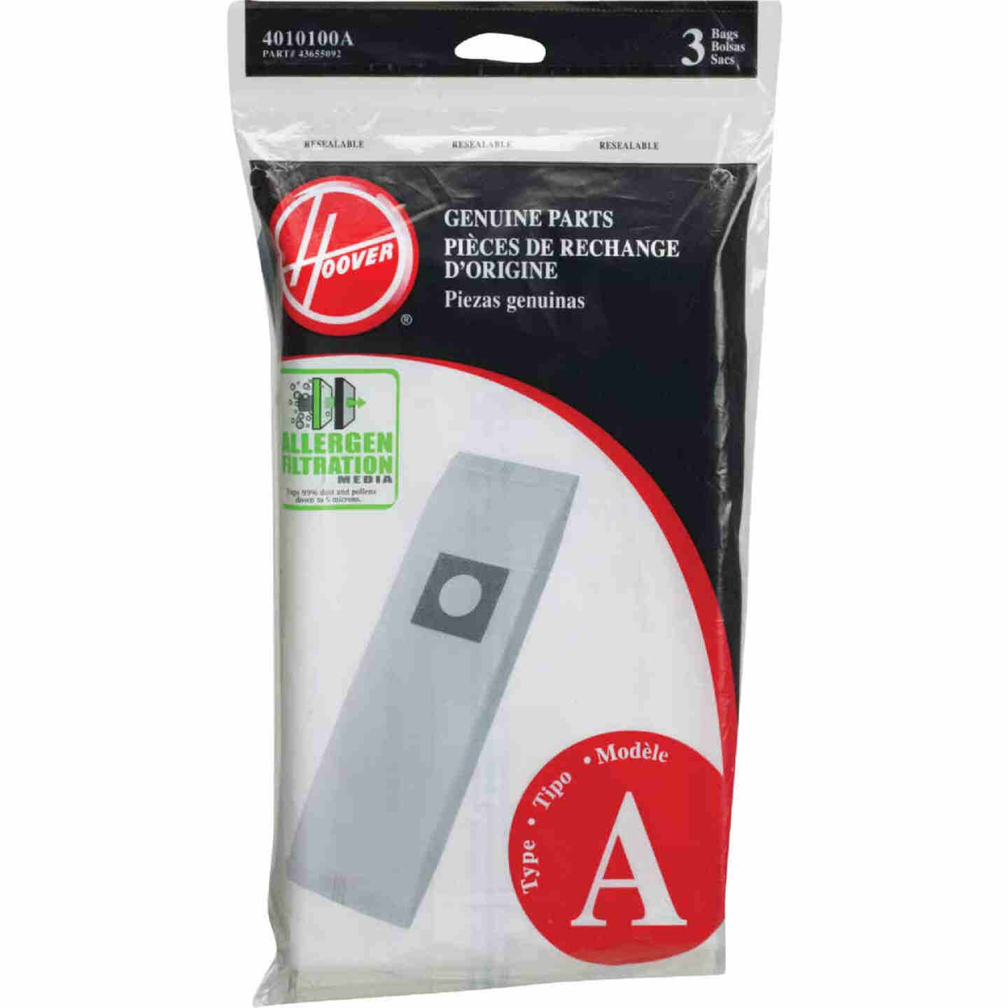 Hoover Type A Allergen Filtration Vacuum Bag (3-Pack) Image 1