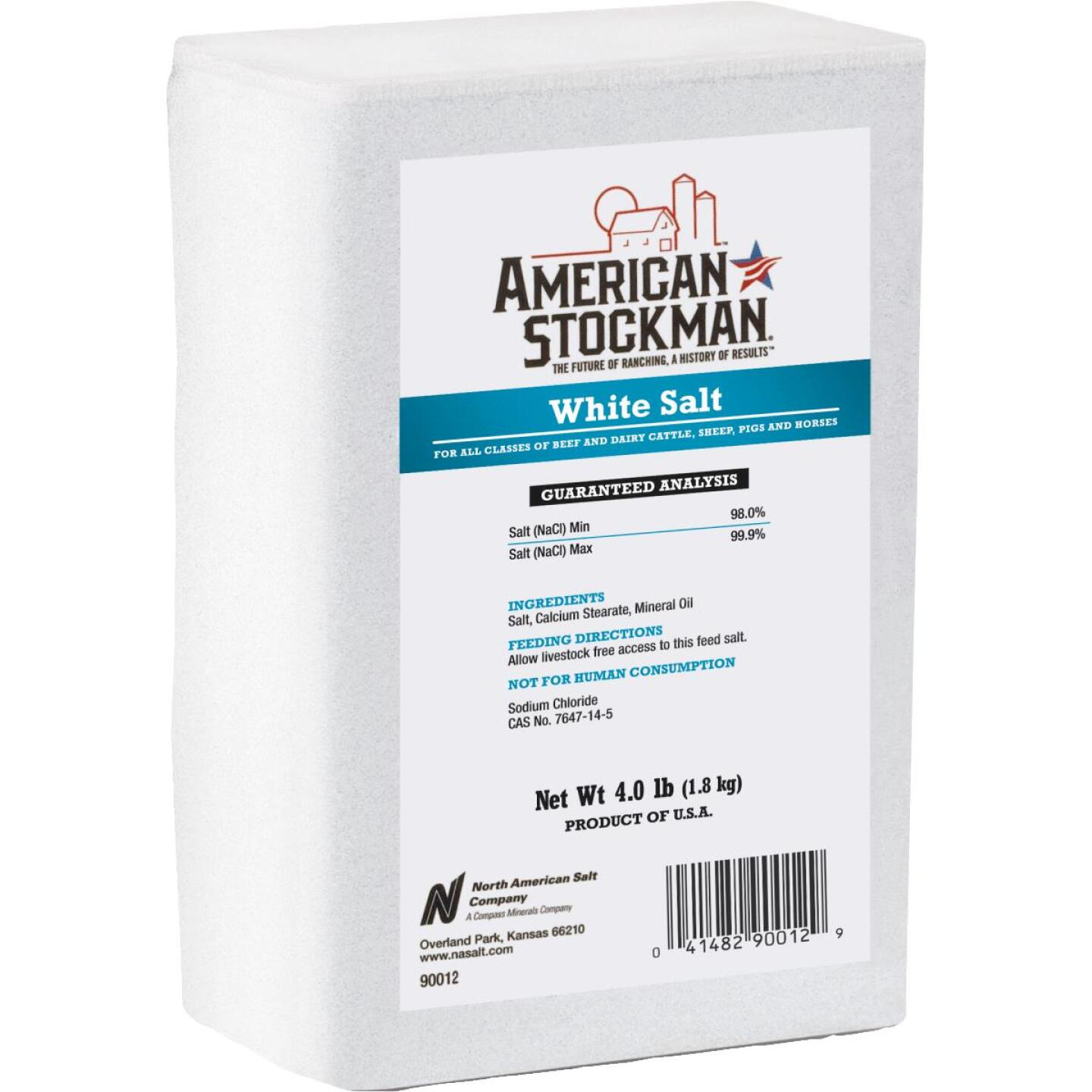 American Stockman 4 Lb. Plain White Salt Block Image 1