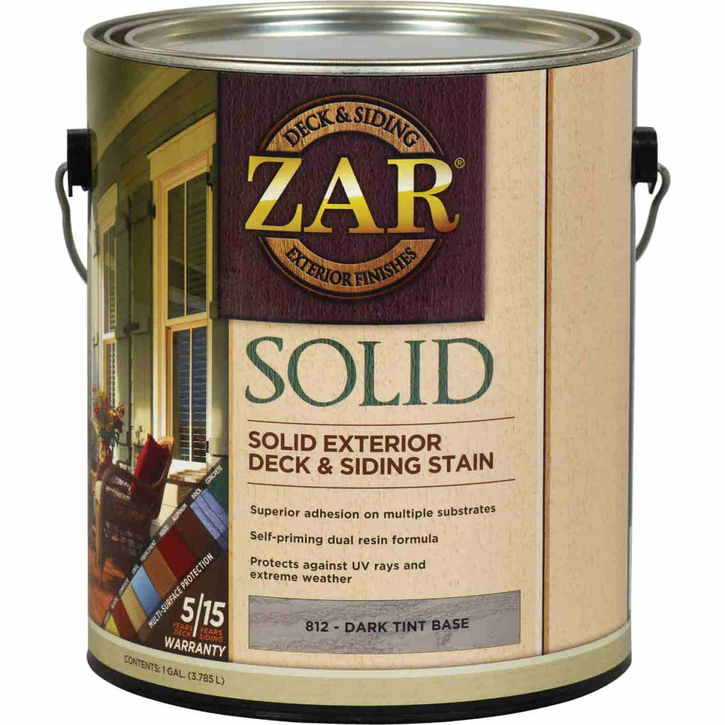 ZAR Solid Deck & Siding Stain, Dark Tint Base, 1 Gal. Image 1