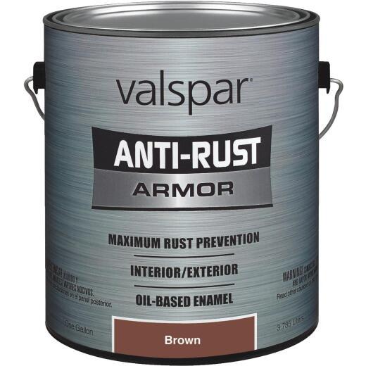 Valspar Anti-Rust Oil-Based Gloss Armor Rust Control Enamel, Brown, 1 Gal.