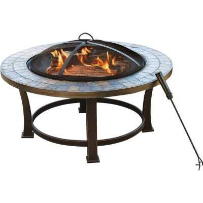 Outdoor Expressions 34 in. Antique Bronze Round Steel Fire Pit