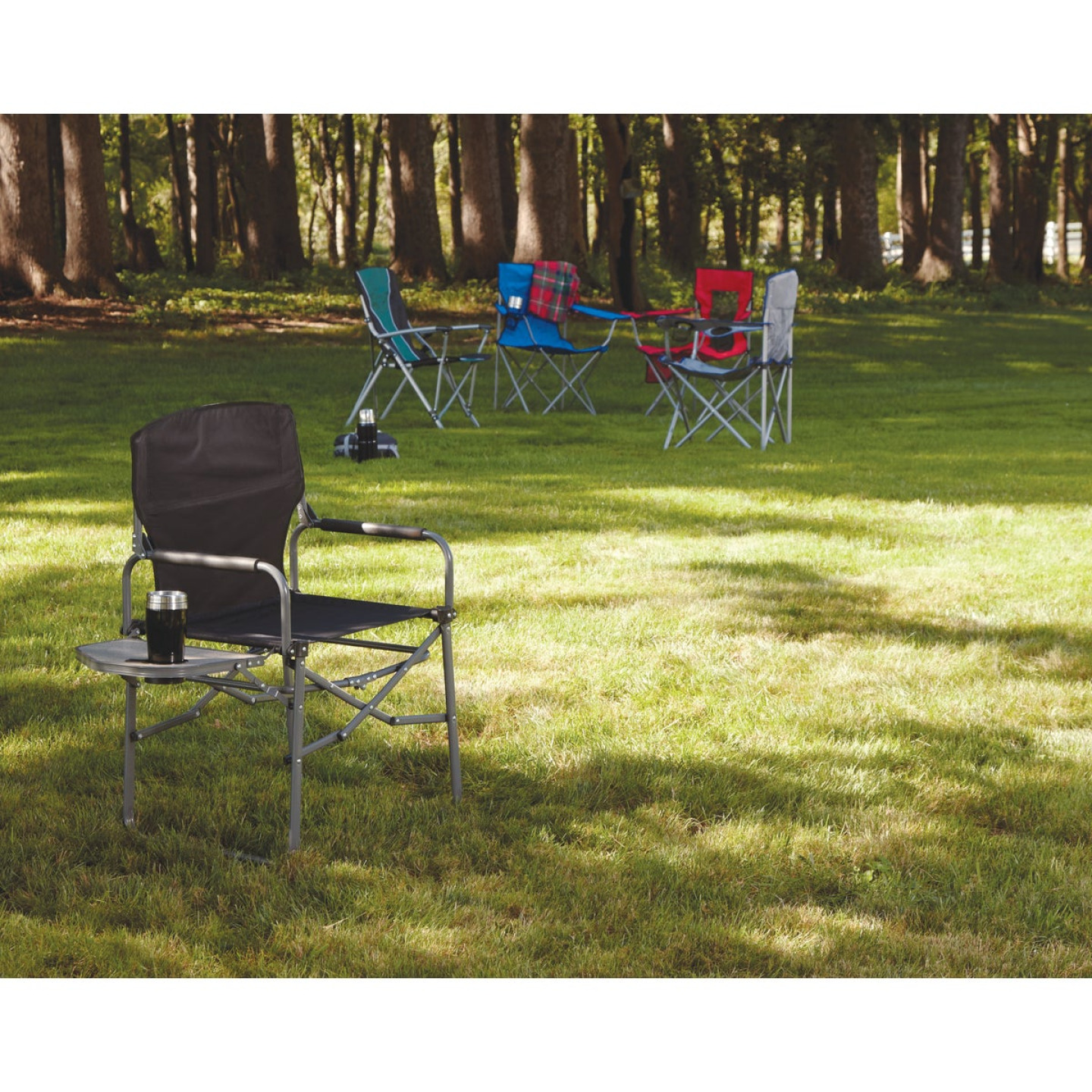 Outdoor Expressions Black Polyester Director Camp Folding Chair with Side Table Image 2