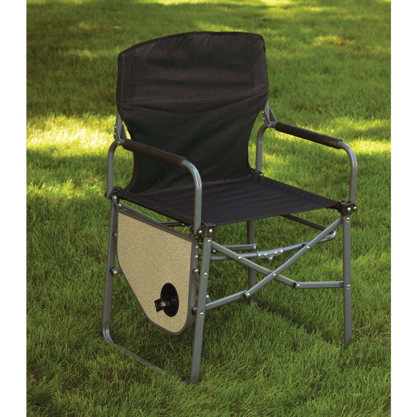 Outdoor Expressions Black Polyester Director Camp Folding Chair with Side Table Image 3