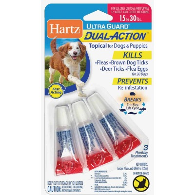 Hartz UltraGuard Dual Action 3-Month Supply Flea & Tick Treatment For Dogs & Puppies From 15 to 30 Lb.