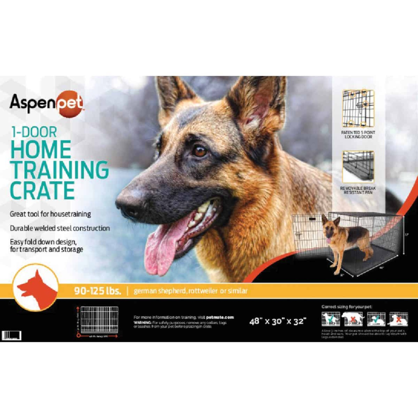 Petmate Aspen Pet 29.3 In. W. x 31 In. H. x 43.4 In. L. Heavy-Gauge Wire Indoor Training Dog Crate Image 2